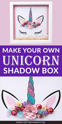Make your own Unicorn Shadow Box with this FREE printable template. Create DIY Unicorn wall art with this easy unicorn printable and full photo instructions. Unicorn crowns are so popular for girl's wall art and bedroom decorations. Create your unicorn crown on this unicorn shadow box frame and decorate to make a glittery unicorn horn complete with flower crown. The perfect unicorn craft to sell or to give as a gift for unicorn lovers. #unicorn #shadowbox #unicornart #unicornlove