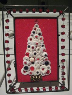 White button Christmas Tree with red and black accents
