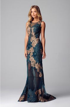 Alberto Makali Teal Lace applique evening gown