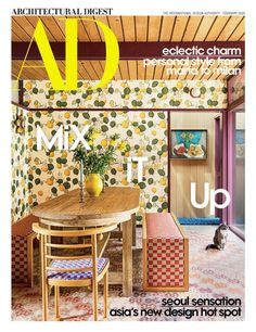 I just got my February issue of AD and am in love with this cover home, a gorgeous California gem in Altadena, California. The whole thing is stunning- the yard and every detail ( cat included.) It renewed my interest in wallpaper and choosing it for the house. I've always planned to wallpaper after the...