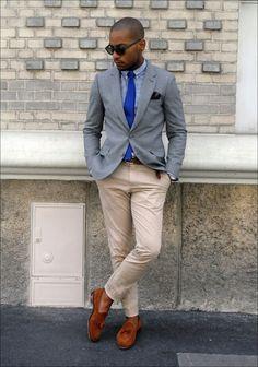 Grey jacket + khaki/tan pants