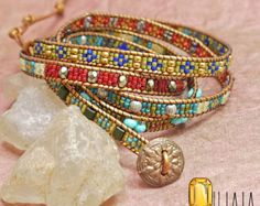 Gypsy Jewelry Bracelet Wrap with Crystals and by OhlalaJewelry