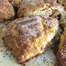 This incredible-tasting, rich and buttery scone features a butterscotch/cinnamon filling, and a generous shower of cinnamon-sugar on top.