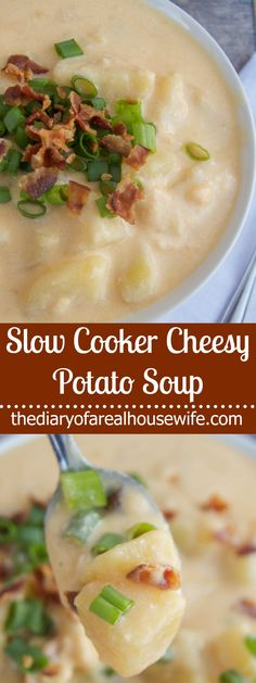 This easy Slow Cooker Cheesy Potato Soup is perfect for any chilly evening!