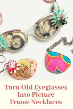 """Don't throw away old glasses, upcycle the frames and lens to make necklaces with lots of """"specs appeal"""". Jewelry Crafts, Jewelry Art, Jewellery, Diy Gifts For Mothers, Eyeglass Lenses, Handmade Gift Tags, Fun Arts And Crafts, Trash To Treasure, Glue Crafts"""