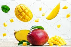 mango with flying slices by Natasha on @creativemarket