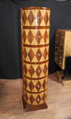 Art Deco Inlay Chest Drawers Tall Boy 1920's