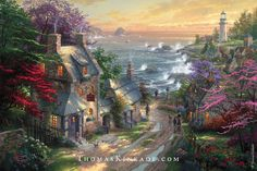 """Thomas Kinkade was inspired to paint """"The Village Lighthouse"""" in 2002 after taking a seaside stroll on a trip to England. Can you find the 12 N's hidden in tribute to his wife, Nanette? #thomaskinkade #art #throwbackthursday #tbt"""