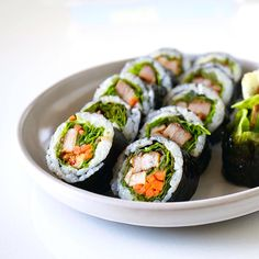 Enjoy pork ssam wraps (a very traditional Korean BBQ dish) in kimbap form!