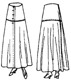 The Butterick Pattern Company describes this pattern as a Ladies' Three or Four Piece Skirt, with or without the Yoke or Bias or Circular Trimming Band. (To be Made as a Separate Skirt or Attached to a Waist as a One-Piece Dress.) Sorry, no instructions. Pattern dates circa 1915-1918.