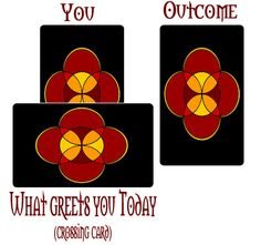 """This is a fun three card reading you can do for yourself at the beginning of your day. The """"you"""" card represents (obviously) you, and your energetic tone at the moment of pulling the card.    The crossing card indicates what kind of joys, fun, people, surprises, conflicts, or events you will encounter on this day.    The """"outcome"""" card gives you a clue as to how your day will conclude. Be mindful of this outcome card because it may clue you in on how you can handle conflict more effectively."""