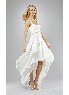 chiffon+white+high+low+dress | USD 166.99