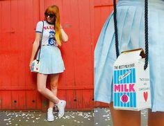 Moooh Milk Carton Bag, Asos Slushy Puppy Tee, White Converse Sneakers