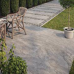 Wickes Botany Grey Outdoor Porcelain Tile 900 x Garden Tiles, Patio Tiles, Outdoor Tiles, Outdoor Porcelain Tile, Quick Garden, Paving Ideas, Outdoor Clock, Garden Makeover, Small Garden Design