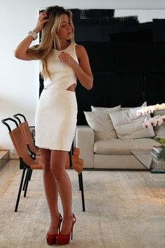 cut-out dress and red shoes.