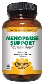Country Life Vitamins Menopause Support is certified vegan and gluten free.  It contains natural ingredients like Red clover which help in maintaining woman's health.