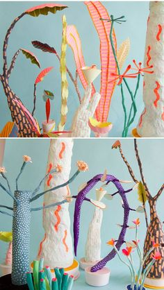 Papery Dr.Suess-esque leaves and pokey cacti, neon paint and paper-maché paste - by the collaborative duo Adam Frezza and Terri Chiao.