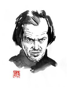 """Just watched """"Doctor sleep"""" with Ewan Mcgregor. The positive thing is to meet this hotel and a little surprise that i won't spoil #jacknicholson #jacktorrance #theshining #doctorsleep #sumie #japan Sumi E Painting, Doctor Sleep, Jack Nicholson, The Shining, Movie Characters, Buy Art, Paper Art, Saatchi Art, Original Art"""