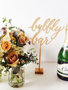 Bubbly Bar Wood Laser Cut Bar Standing Signs by LHCalligraphy Bubbly Bar, Diy Party Decorations, Reception Decorations, Wedding Cake Toppers, Wedding Cakes, Event Signage, New Years Eve Weddings, Wedding Sweets, Inspiration Design
