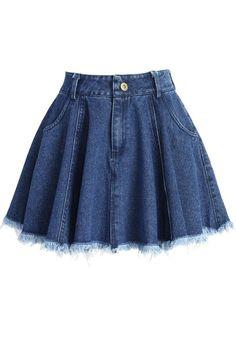 Chicwish Tassel Trim Denim Mini Skirt in Blue Girls Fashion Clothes, Teen Fashion Outfits, Mode Outfits, Girl Fashion, Girl Outfits, Cute Casual Outfits, Pretty Outfits, Cute Skirts, Mini Skirts
