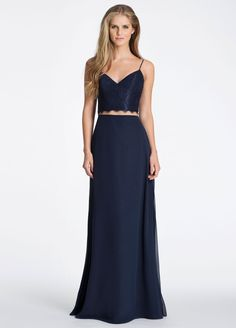 Navy lace crop top with Indigo chiffon, A-line skirt, scallop detail at neckline and waist.