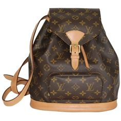 Pre-owned Louis Vuitton Montsouris Mm M51136 2546 Backpack ($994) ❤ liked on Polyvore featuring bags, backpacks, monogram, string backpack, travel daypack, day pack backpack, leather backpack and brown leather backpack