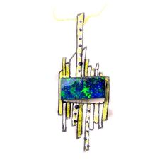 Diamond studded yellow gold pole design featuring green blue black boulder opal. A feature for ladies fashions and jewelry (jewellery)