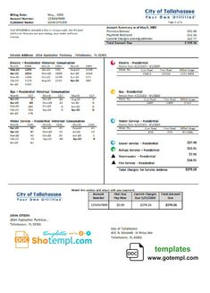 USA City of Tallahassee Your Own Utilities bill template