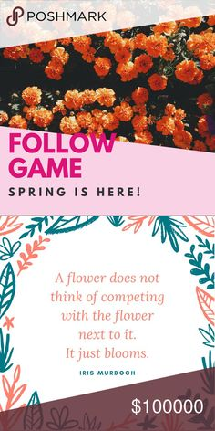 🌷🌸🌺f🌞ll🌞w game 🌷 Happy spring! The weather is so beautiful 🎉just I hit 10K! Woo hoo! Thank you all for your help on this journey 🌸🌎🌺🌸 I have loved meeting you all and would love to connect with even more  poshers 🌺🌹🎉💗👗 you know the drill 1.Like 2.Tag 3.Share 4.Come back and follow everyone who likes! As always, feel free to ask a question, make an offer, or bundle on my closet/boutique 🌈🌸🌷💗 10% of April's sales are donated to Relay for Life for the American Cancer Society…