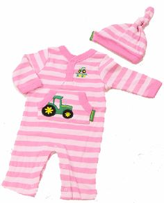 John Deere Newborn and Infant Pink Creeper and Hat Set $16