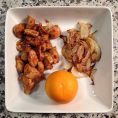 Orange • Balsamic vinegar, lime & olive oil marinade • Organic chicken • Sweet onions