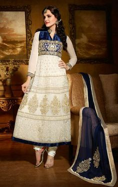 USD 95.95 Off White Net Embroidered Long Suit With Salwar 30354