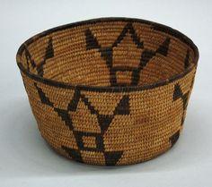 Native American basket having geometricised frog design