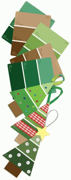 Make Christmas trees out of paint sample strips