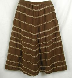Talbots Petites Skirt Size 6 petite Brown Stretch A Line Flared Cotton Poly  #Talbots #ALine