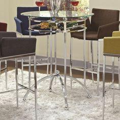 Contemporary Chrome Metal Glass Bar Table