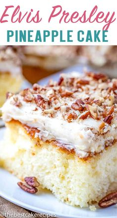 Elvis Presley Cake Recipe with Pineapple Topping and FrostingLove pineapples and pecans? Then you might like this Elvis Presley Cake! It starts with a basic white cake mix, but add the pineapple topping and cream cheese frosting.you won't be a Cake Mix Desserts, Party Desserts, Delicious Desserts, Best Cake Recipes, Pound Cake Recipes, Frosting Recipes, Elvis Presley Kuchen, Nutella, Pineapple Desserts