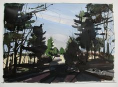 Little Green, Easter Sunday, Original Spring Landscape Painting on Paper, 11 x 15 Inches, Stooshinoff