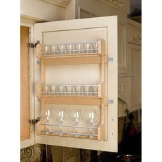 Rev-A-Shelf Series Door Mount Spice Rack for Wall Cabinet Natural Wood Upper Cabinet Organizers Spice Racks Door Mount Stock Cabinets, Built In Cabinets, Storage Cabinets, Storage Shelves, Spice Racks For Cabinets, Cabinet Door Spice Rack, Cabinet Plate Rack, Pantry Door Storage, Diy Cabinet Doors