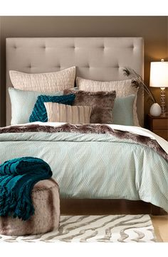 the calming colors, the tufted headboard, the cozy bedding, and that amazing rug!love the spacing of the tufts in the headboard. Home Bedroom, Master Bedroom, Bedroom Decor, Bedroom Wall, Bedroom Ideas, Bedroom Designs, Bedroom Inspiration, My New Room, My Room