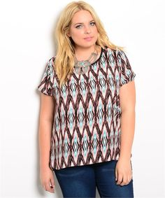 Plus Size Diamond Patterned Top - get it now at kyootklothing.com