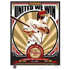 Philadelphia Phillies Chase Utley x Propaganda Serigraph Baseball Posters, Baseball Art, Baseball Gifts, Philadelphia Phillies, Minor League Baseball, Major League, Basketball Videos, Baseball Equipment, Basketball Uniforms