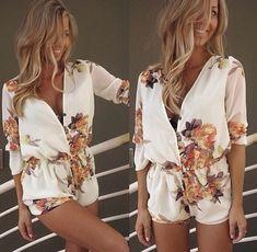 Weiß mit Blumen Print Langarm High Waisted V-Ausschnitt Kurz Overall Sommer Sexy Jumpsuit Elegant