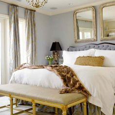 Love the touch of gold,light fixture, and well everything could be my new favorite