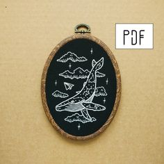 Constellation Humpback Whale Hand Embroidery Pattern (PDF modern embroidery pattern) by ALIFERA on Etsy