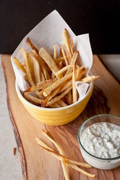 Spicy Oven Baked French Fries with Cucumber Raita | bloggingoverthyme.com