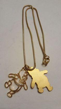 Disney Winnie the Pooh Double Pendant Outline Pooh Necklace Gold tone