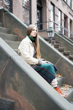 """✶ Opaque tights or leggings WITH socks and high or low-topped boots, wool turtlenecks under heavy pullover sweaters topped by a squall or barn jacket… IS THIS THE CURRENT STYLE? YES! (don't forget the flannel or boiled wool skirt) Combing the streets of New York City looking for the latest street style trends and inspired by the iconic characters of Annie Hall Kramer vs. Kramer"""" (Meryl Streep), Mayflower Supply FW14 Look Book then created these ensembles. Simply lovely and edgy and FABULOUS…"""