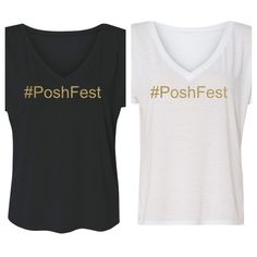 "3.99 SHIP! #PoshFest SLOUCHY/V-NECK ⭐️HP⭐️ SL Clothing- POSH EXCLUSIVE- ""#PoshFest"" Slouchy V-NECK Tees in Black or White- all have GOLD lettering. All sizes S-XXL Available! When purchasing, just pick the size and color you want in sizing below. Easy! Let's all wear these for AWESOME #PoshFest Selfies! ⭐️HP ""Essential Style"" by @bellanblue ~ Shop her LOVELY closet!⭐️ Salt Lake Clothing Tops Tees - Short Sleeve"