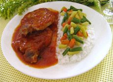 Côtelettes de porc au four avec sauce Red Sauce, Vinaigrette, Bruschetta, Thai Red Curry, Macaroni, Pork, Lunch, Beef, Chicken